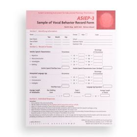 ASIEP-3 Sample of Vocal Behavior Record Form (Pack of 25)