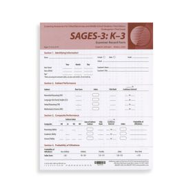 SAGES-3 K-3 Examiner Record Forms (Pad of 50)